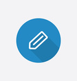 Pencil flat blue simple icon with long shadow vector