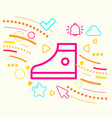 One sneakers on abstract colorful geometric light vector