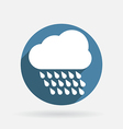 Cloud rain circle blue icon with shadow vector