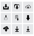 Black download icon set vector