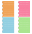 Four color of lined spiral notepad papers vector