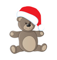 Teddy with christmas cap vector