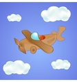 Little cute plane in the clouds vector
