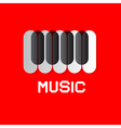 Piano keyboard on red abstract music background vector