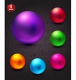Attractive shiny colorful spheres on abstract gray vector