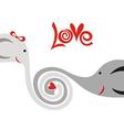 Love elphants cute cartoon vector