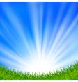 Background with a blue sky and sun vector