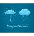 Flat icons of rainy weather vector
