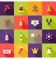 Christmas square flat icons set 3 vector