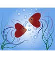 Small fishes-hearts vector