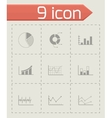 Black diagrams icons set vector