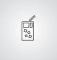 Cocktail outline symbol dark on white background vector