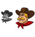 Angry western cowboy mascot vector