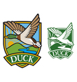 Mallard duck flying emblem vector