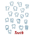 Teeth outline icons set vector