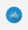Bike flat blue simple icon with long shadow vector