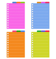 Lined spiral notepad papers with tabs vector
