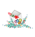 Red rose in open envelope with christmas balls vector