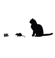 Mouse cat cheese silhouette vector