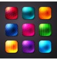 Shiny colored square buttons with stars and lines vector