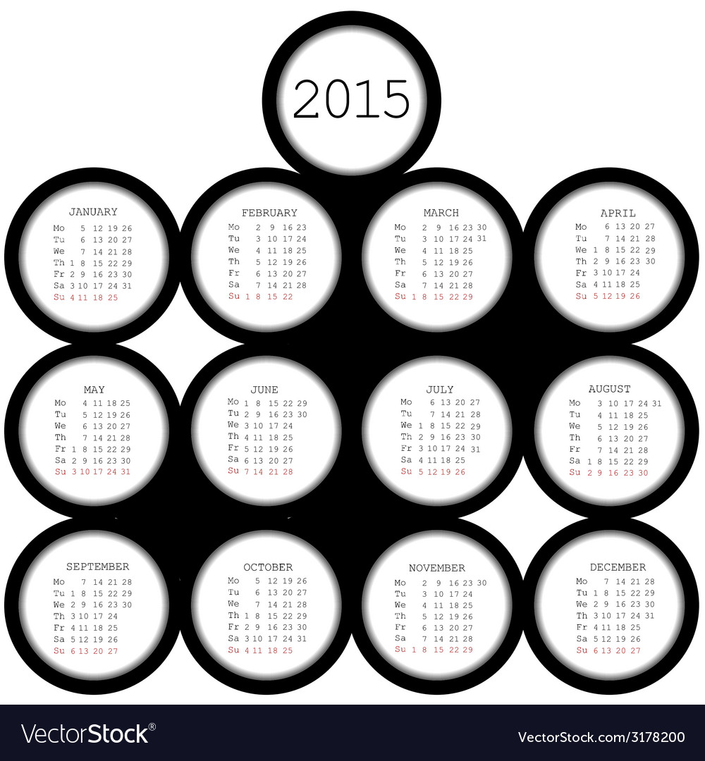 2015 black circles calendar for office vector | Price: 1 Credit (USD $1)