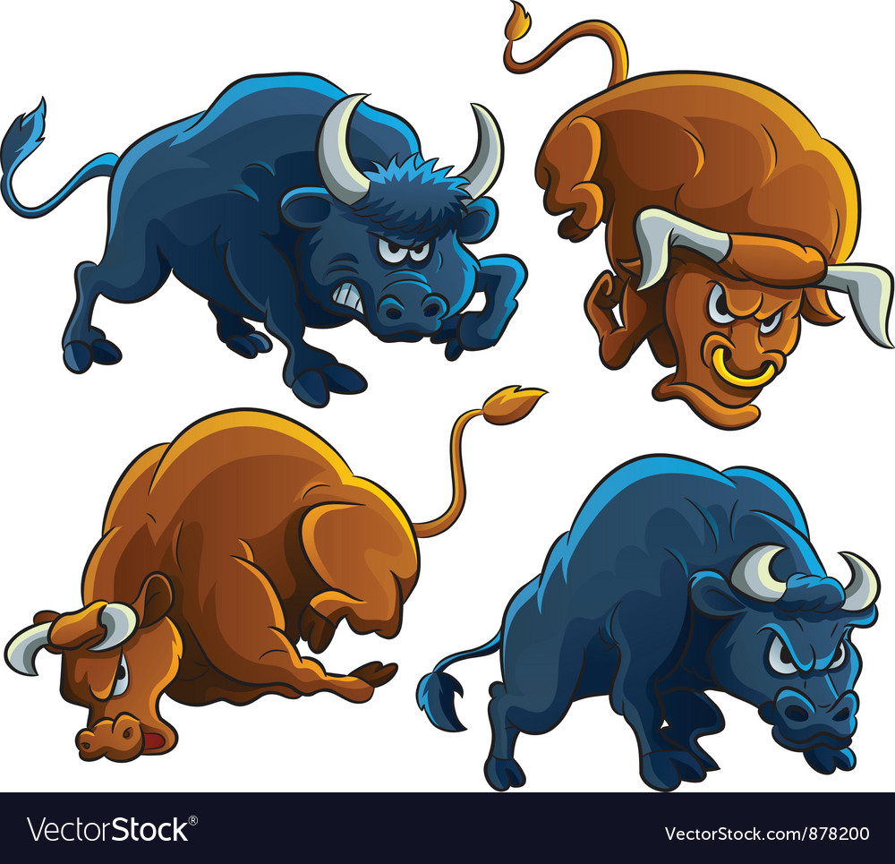 Angry bulls vector | Price: 3 Credit (USD $3)