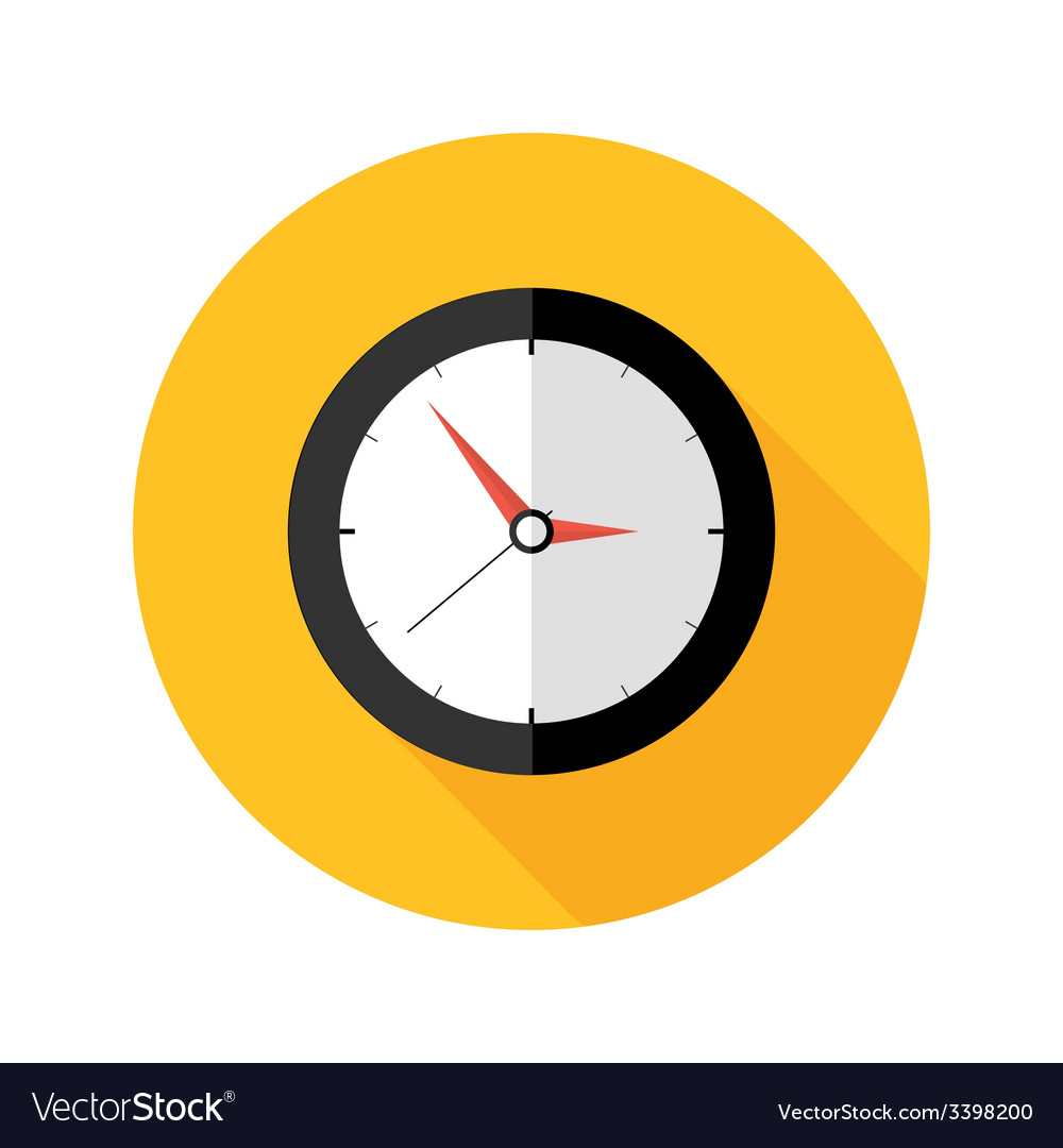 Deadline clock flat circle icon vector | Price: 1 Credit (USD $1)