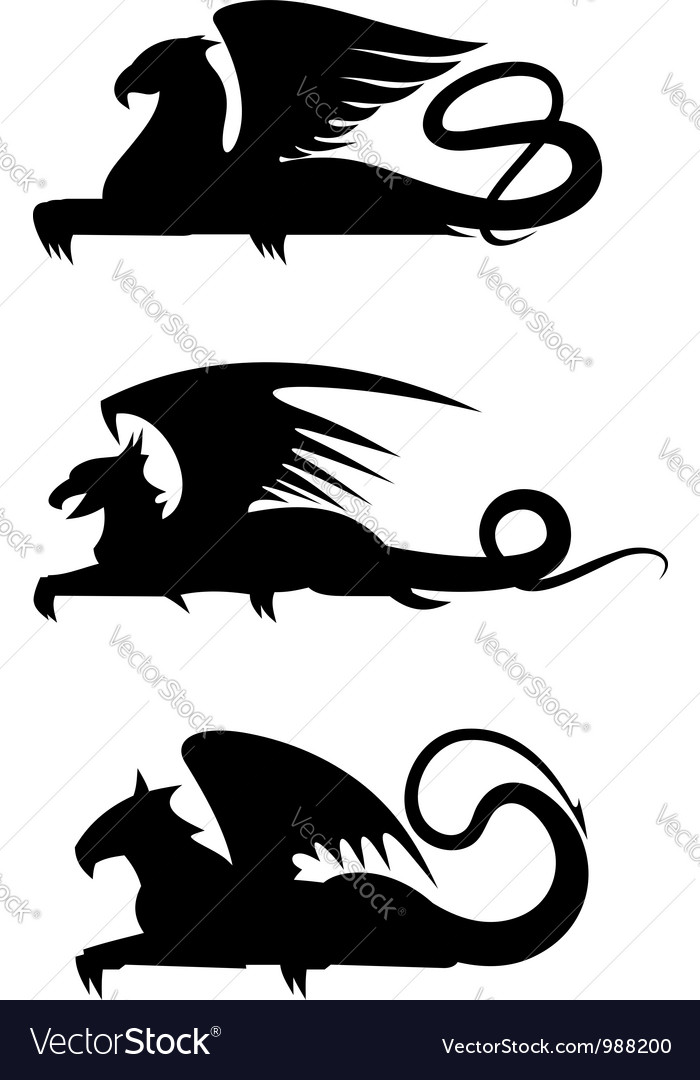 Griffin black silhouettes vector | Price: 1 Credit (USD $1)