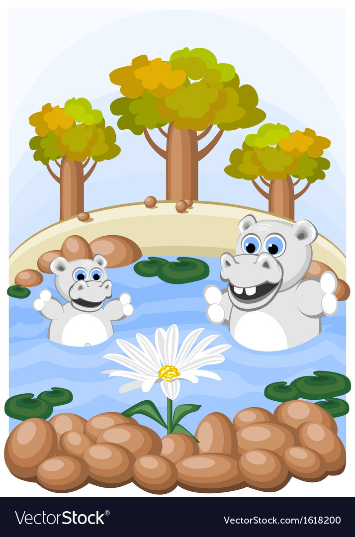 Hippos admire unusual chamomile vector | Price: 1 Credit (USD $1)