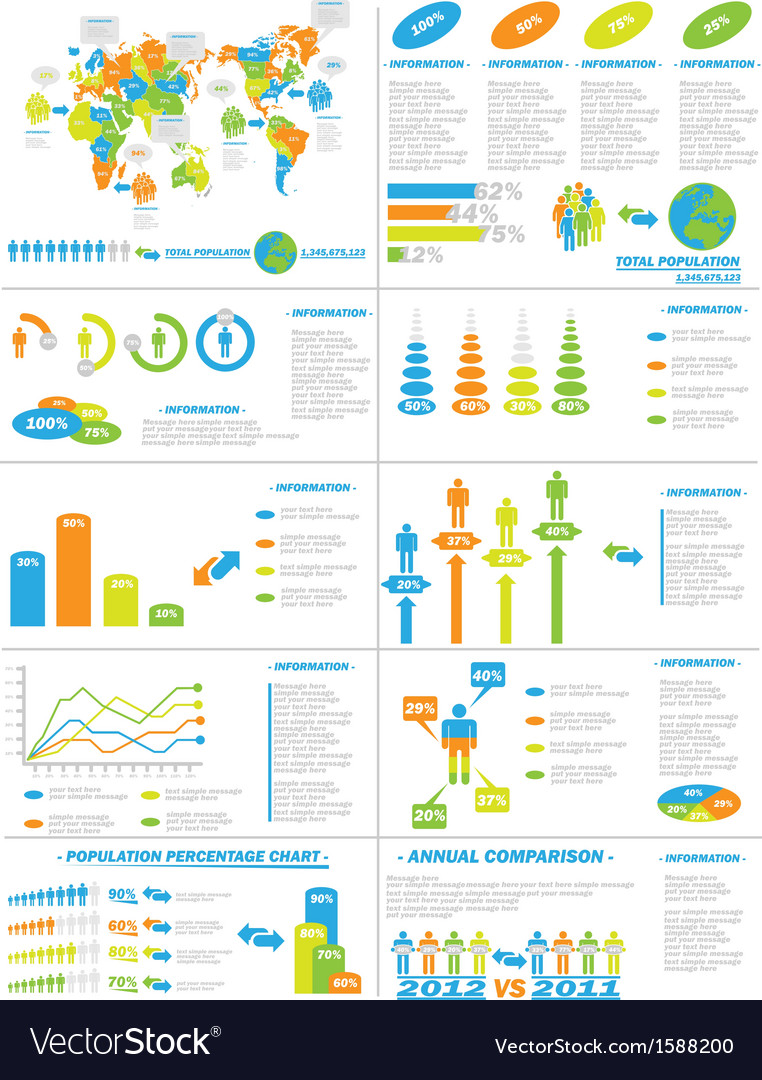 Infographic demographics web elements vector | Price: 1 Credit (USD $1)