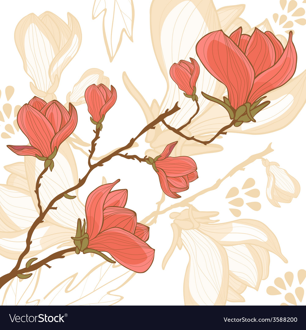 Magnolia flower card vector | Price: 1 Credit (USD $1)