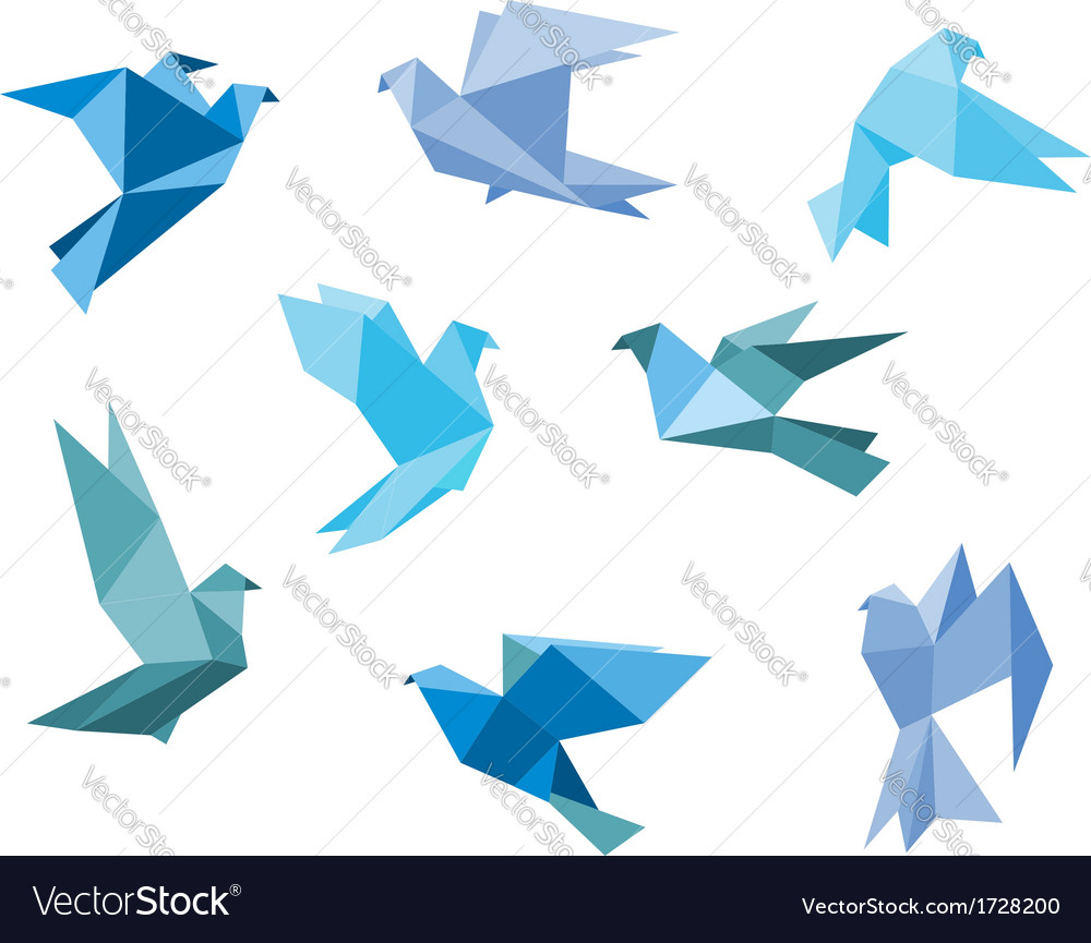 Paper pigeons and doves vector | Price: 1 Credit (USD $1)