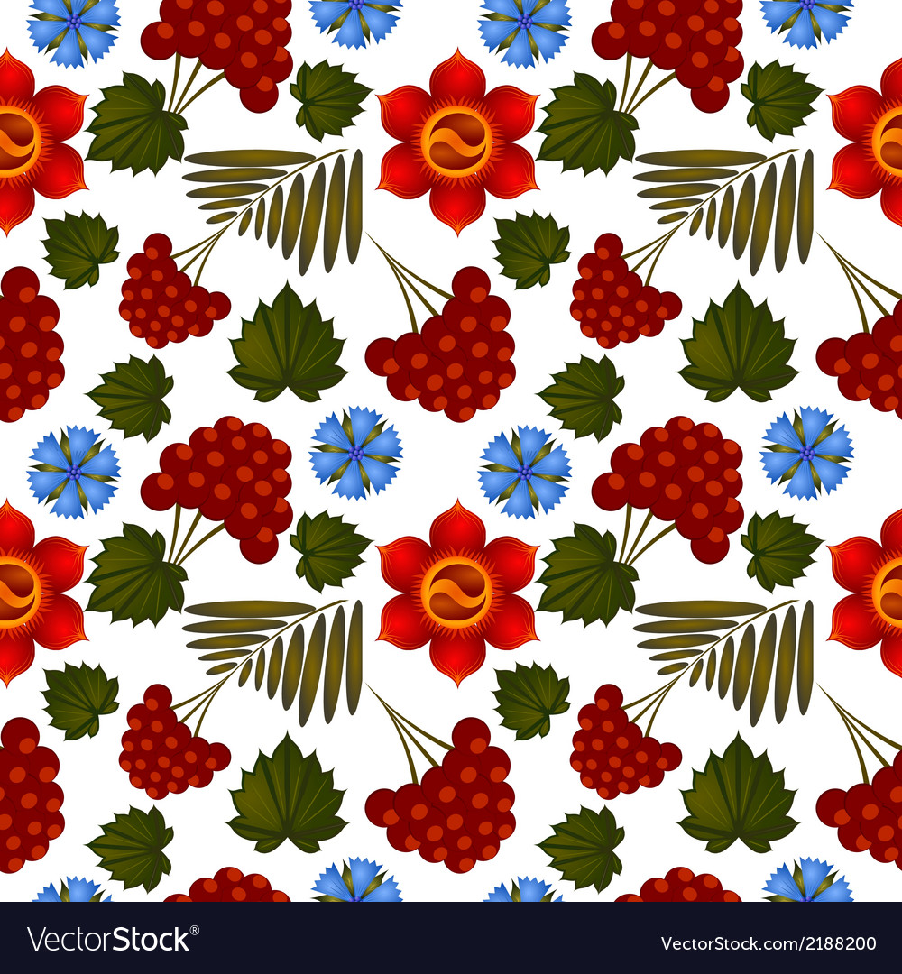 Seamless floral background with ukrainian motifs vector | Price: 1 Credit (USD $1)