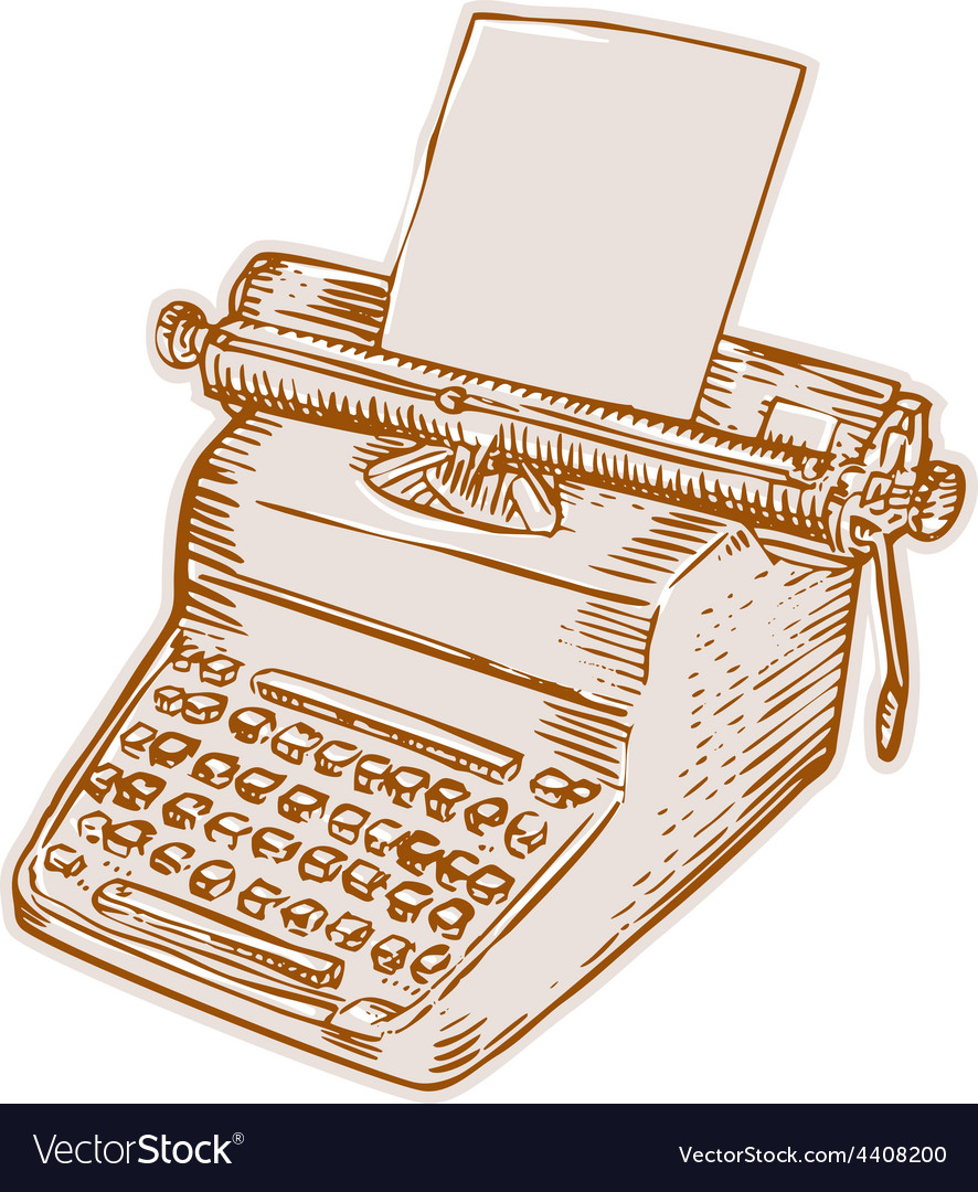 Vintage old style typewriter etching vector | Price: 1 Credit (USD $1)