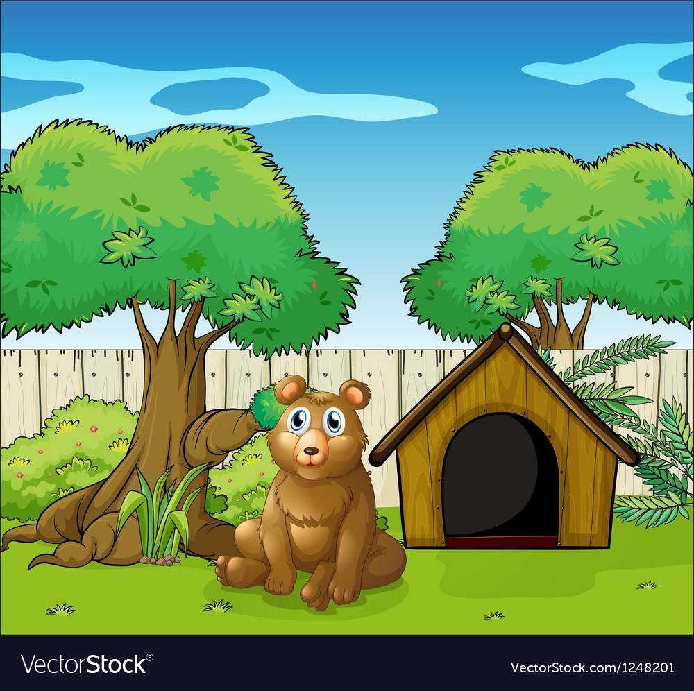 A bear sitting inside the fence vector | Price: 1 Credit (USD $1)