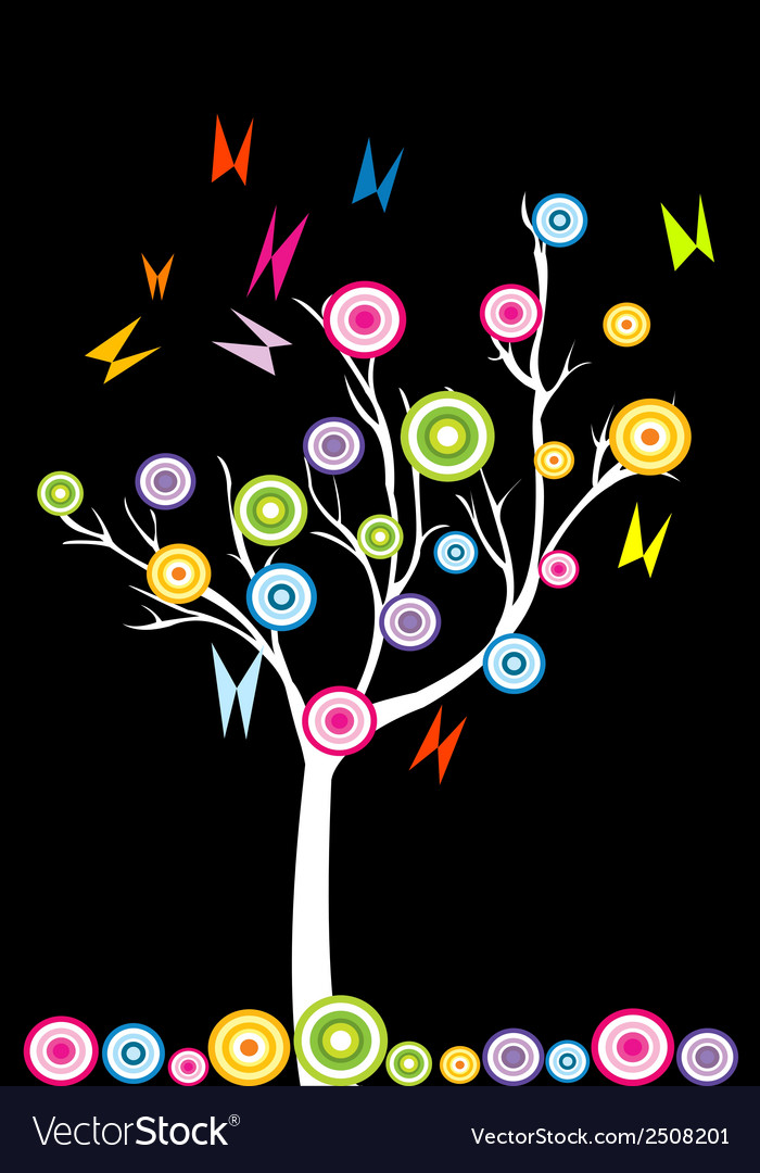 Abstract white tree with stylized fruits and vector | Price: 1 Credit (USD $1)