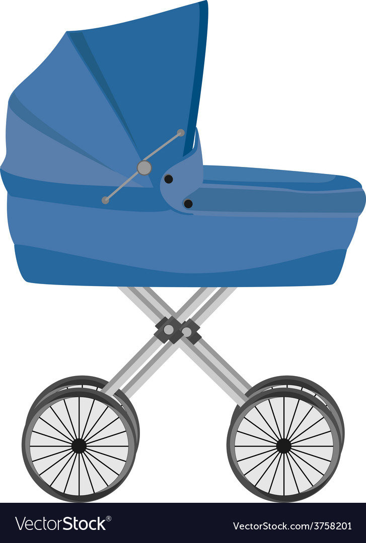Blue baby carriage vector | Price: 1 Credit (USD $1)