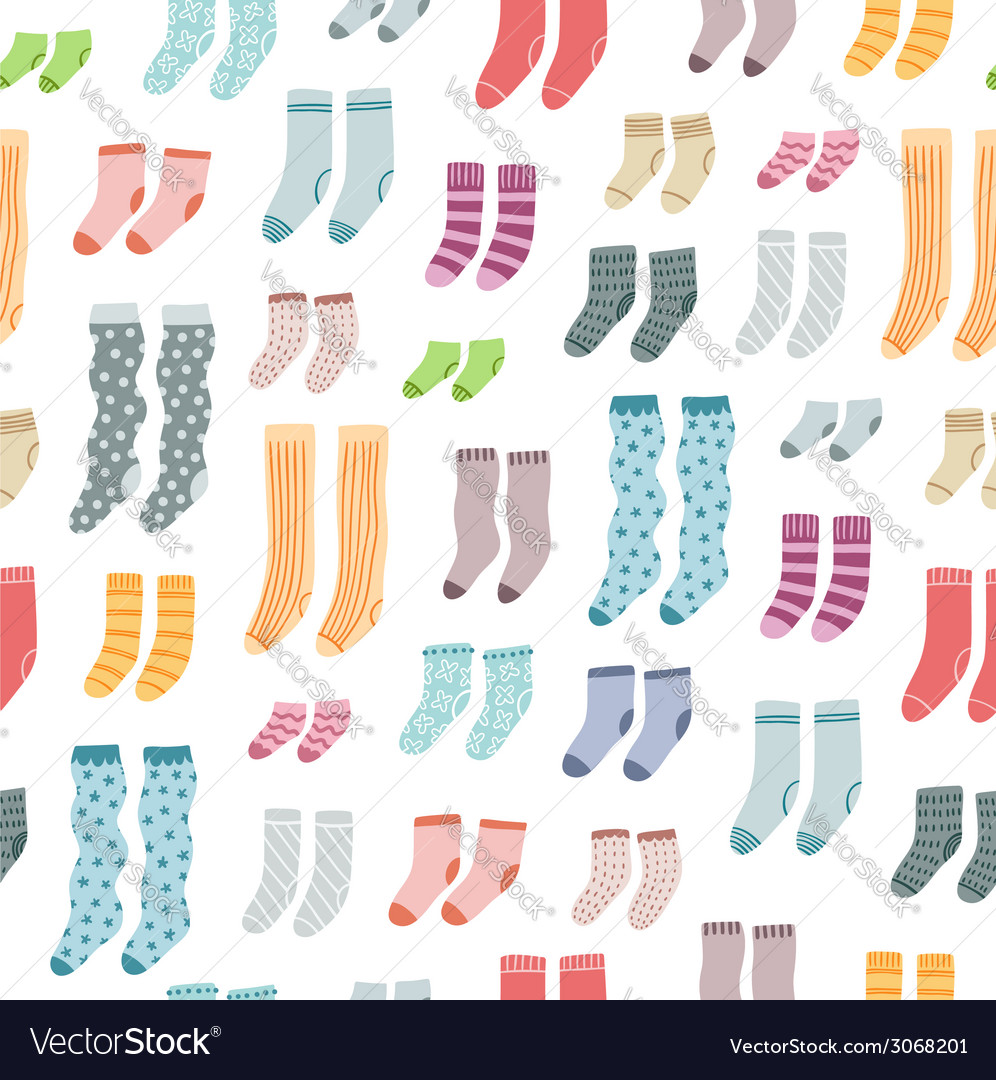 Colorful socks seamless pattern vector | Price: 1 Credit (USD $1)