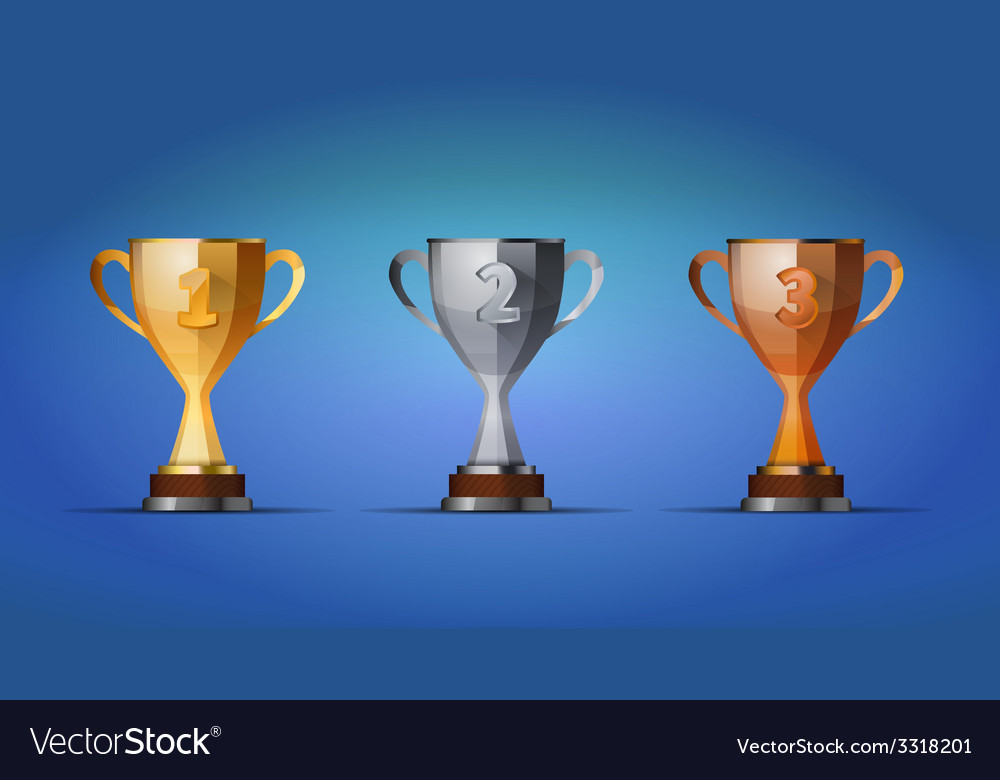 Cup of winners award for first second and third vector | Price: 1 Credit (USD $1)