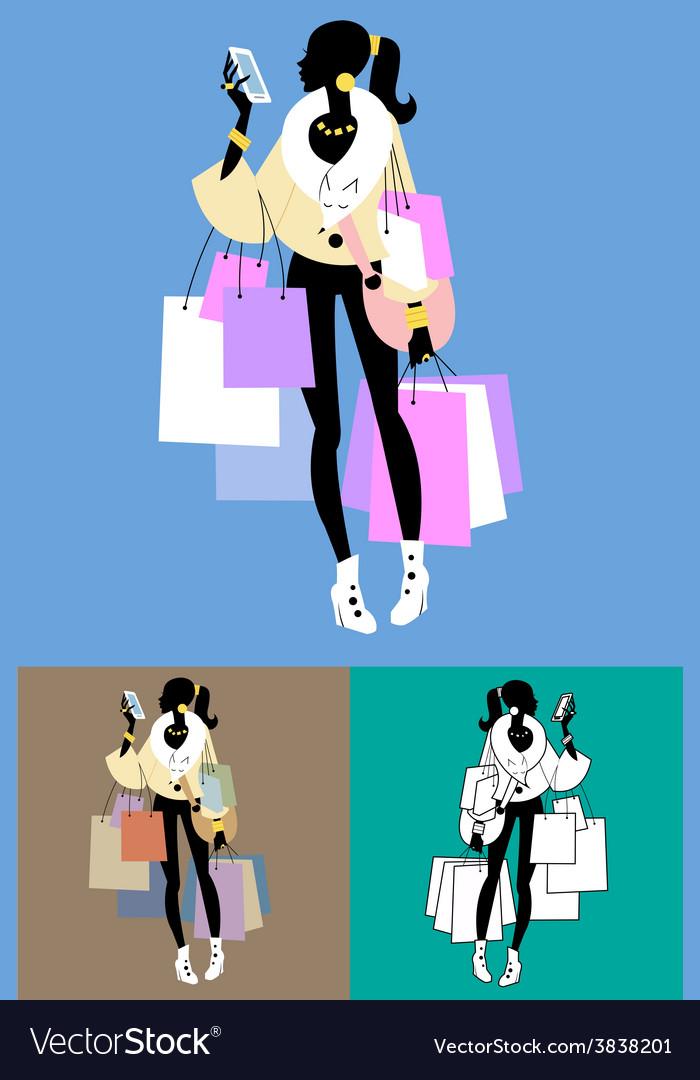 Fashionista shopaholic calls vector | Price: 1 Credit (USD $1)