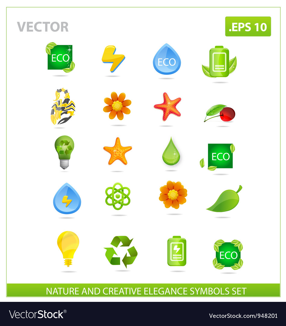 Green nature big pack symbols set vector | Price: 3 Credit (USD $3)