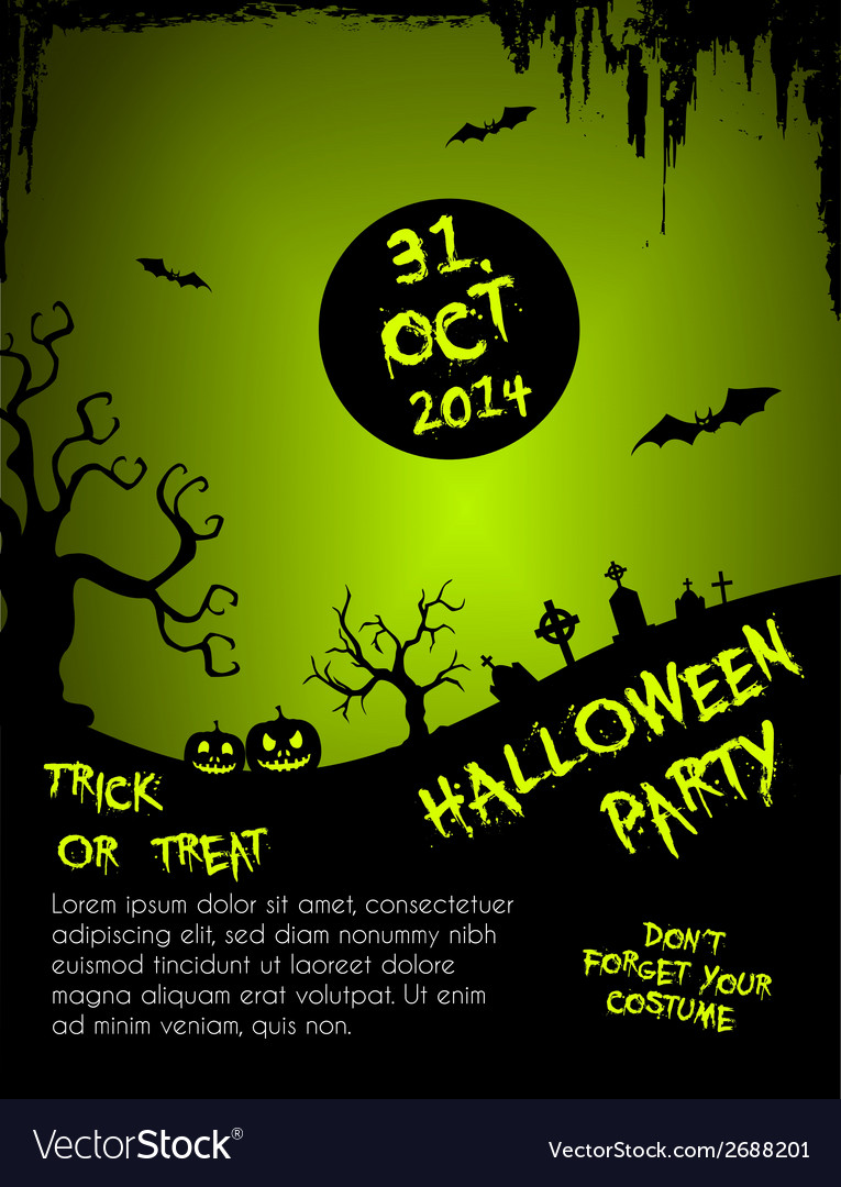 Halloween party flyer template - green vector | Price: 1 Credit (USD $1)