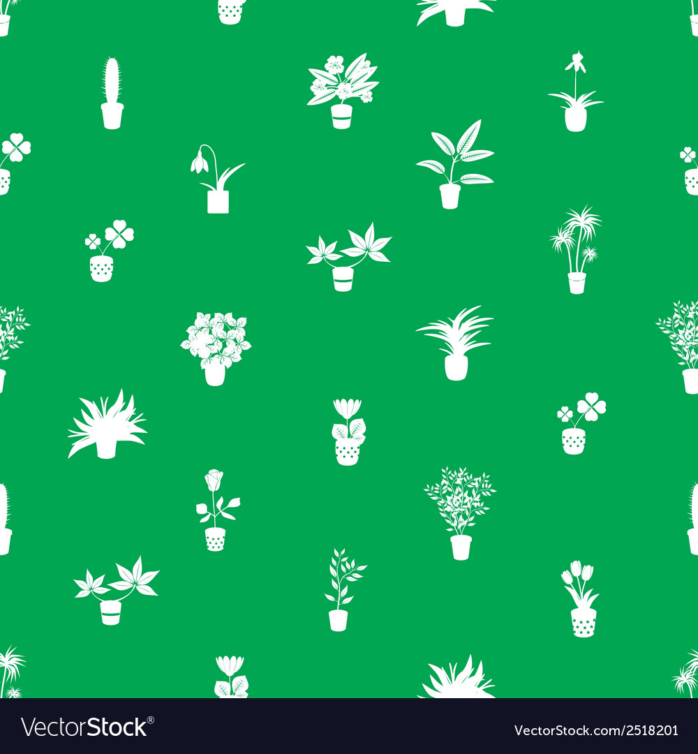 Home houseplants and flowers in pot green pattern vector | Price: 1 Credit (USD $1)