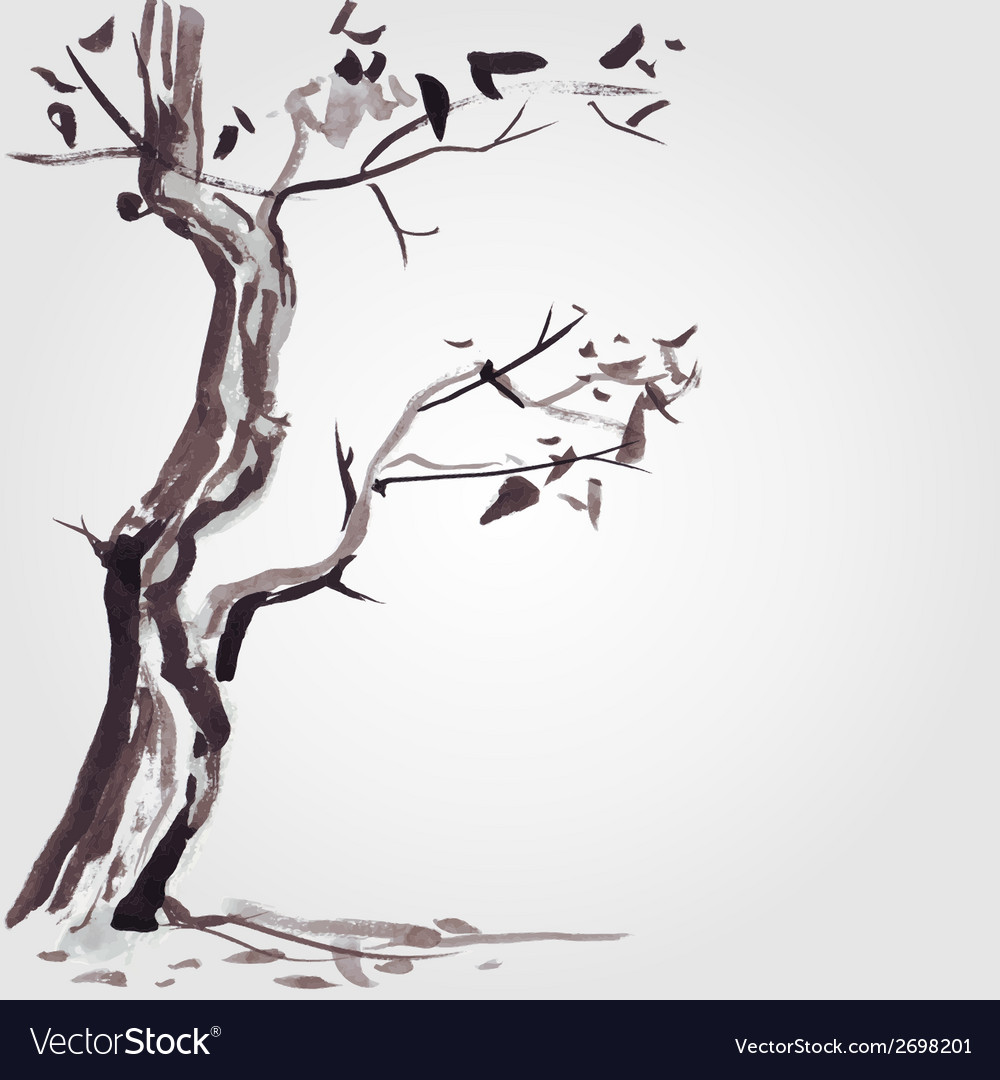 Old tree in chinese style vector | Price: 1 Credit (USD $1)