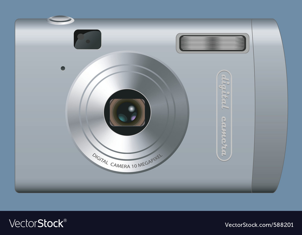 Realistic digital camera vector | Price: 1 Credit (USD $1)