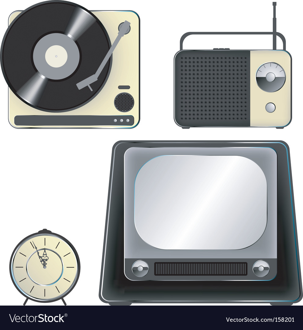 Retro object icons icon set vector | Price: 1 Credit (USD $1)