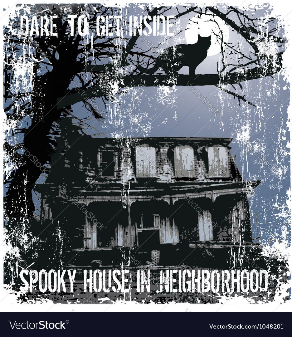 Spooky house in neighborhood vector | Price: 1 Credit (USD $1)