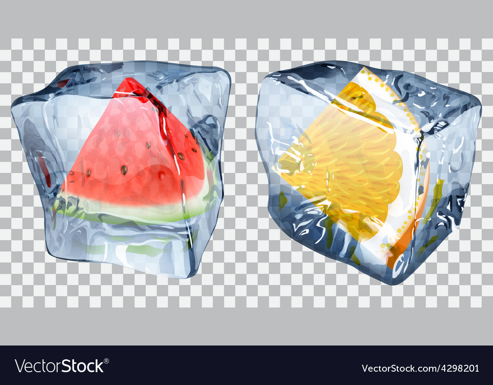 Transparent ice cubes with watermelon and orange vector | Price: 1 Credit (USD $1)