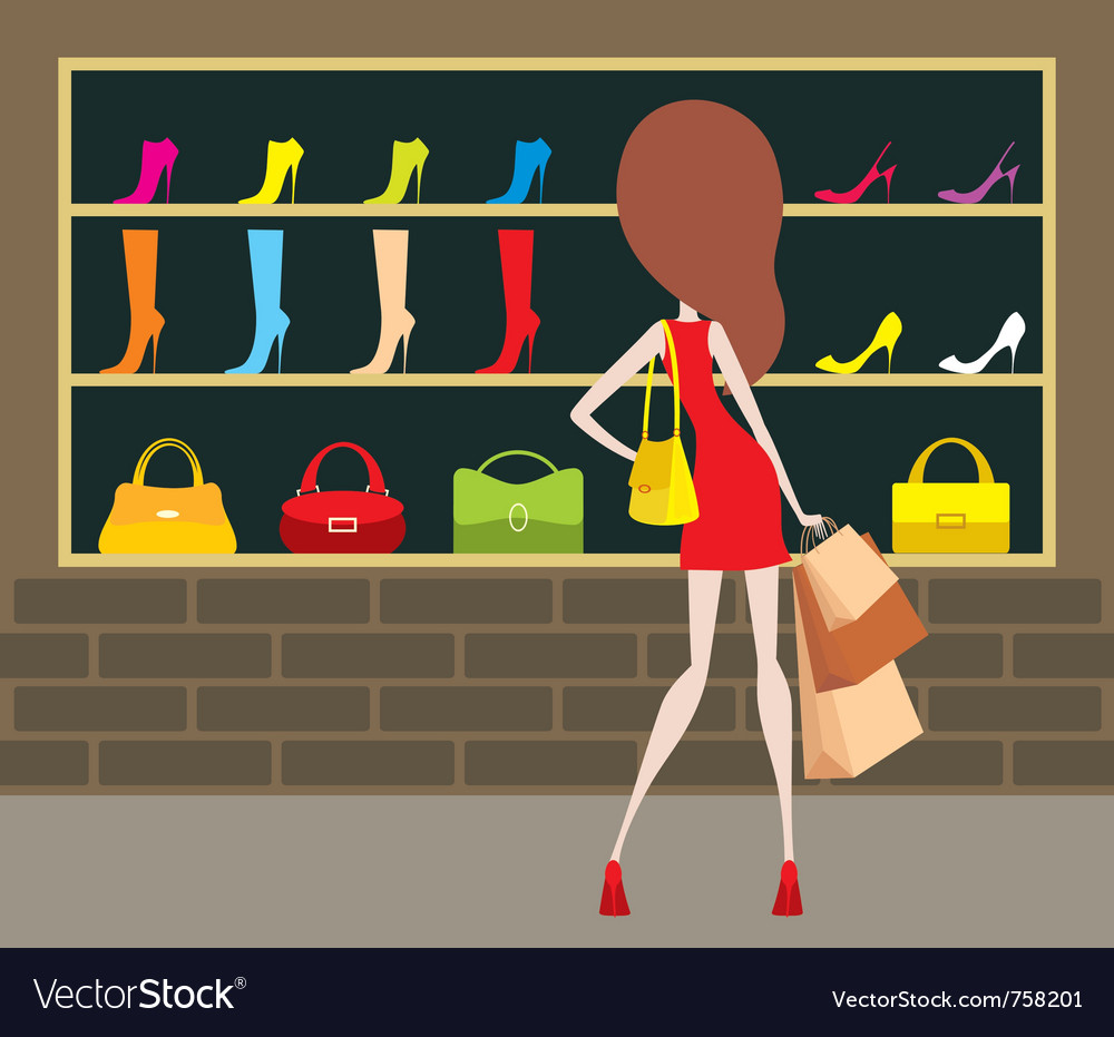 Woman at a shop front vector | Price: 1 Credit (USD $1)