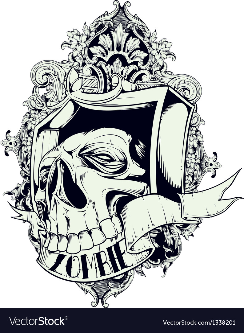 Zombie skull vector | Price: 1 Credit (USD $1)
